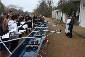 Blessing the new womens' boat: Blessing led by Fr Oswald McBride