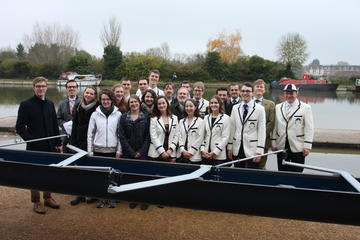 Blessing the new women's boat: Current and past crews
